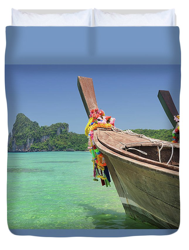 Tropical Rainforest Duvet Cover featuring the photograph Paradise Tropical Beach With Longtail by 4fr