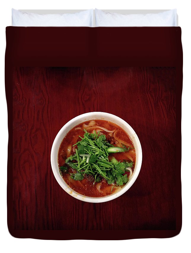 Yokohama Duvet Cover featuring the photograph Pared Noodles by Digipub