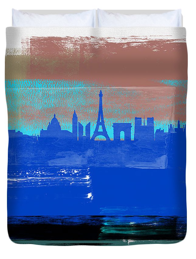 Paris Duvet Cover featuring the mixed media Paris Abstract Skyline I by Naxart Studio