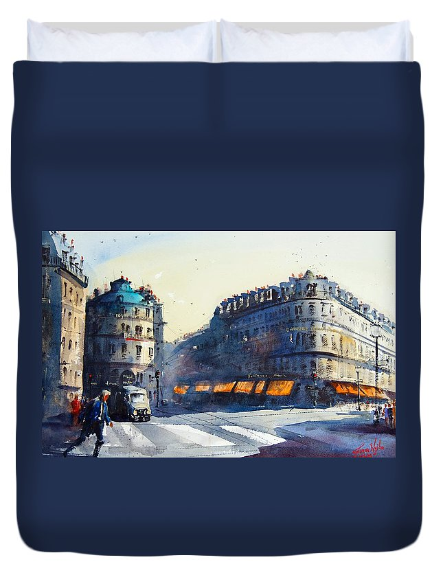 Paris Duvet Cover featuring the painting Paris, Near Opera by James Nyika