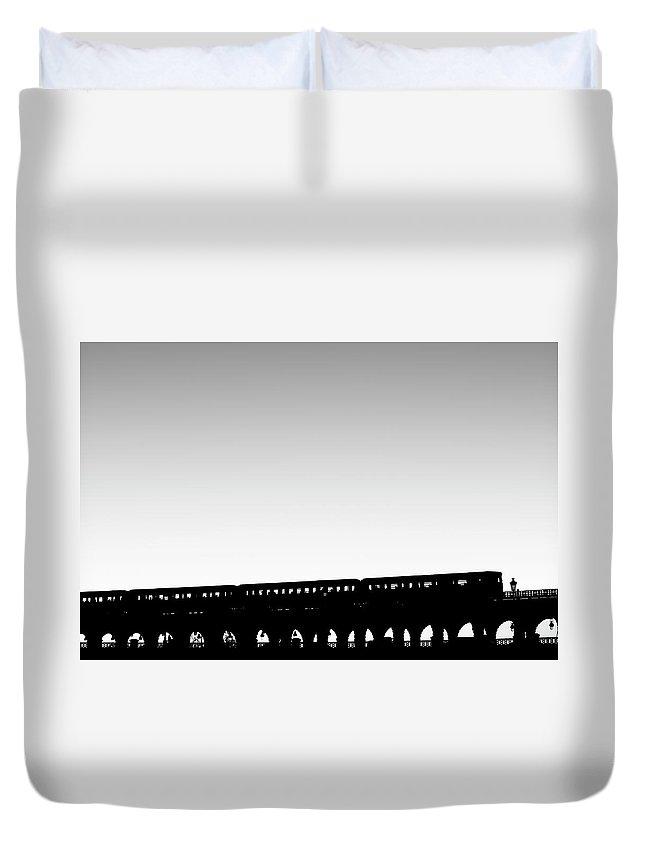 Passenger Train Duvet Cover featuring the photograph Paris Urban Metro Commuter Train by Bunhill