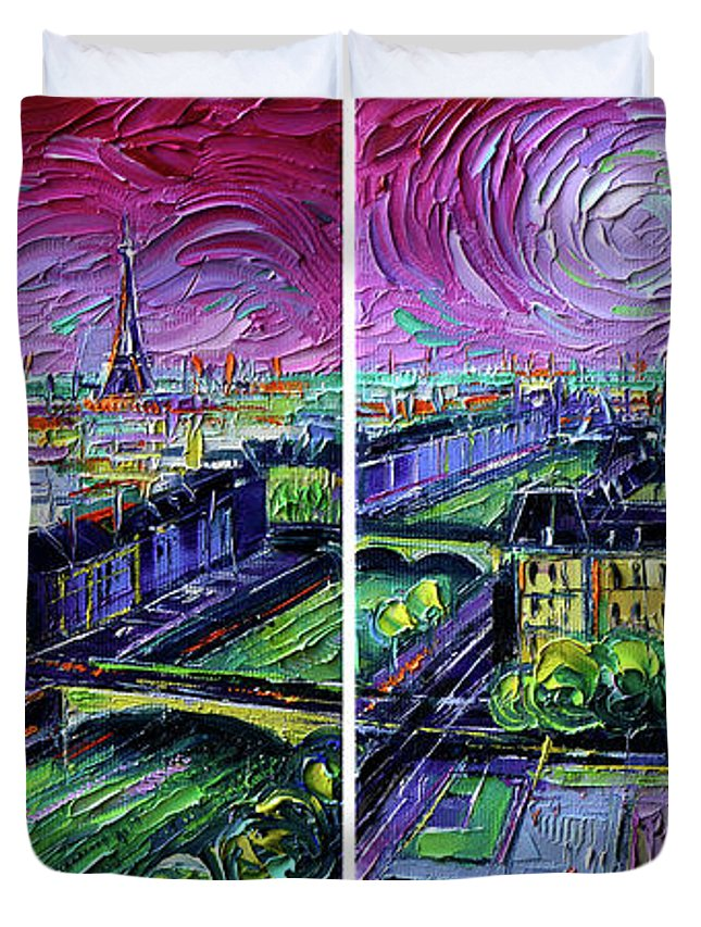 Paris Gargoyle Duvet Cover featuring the painting Paris View With Gargoyles - Textural Impressionist Diptych Oil Painting Mona Edulesco  by Mona Edulesco
