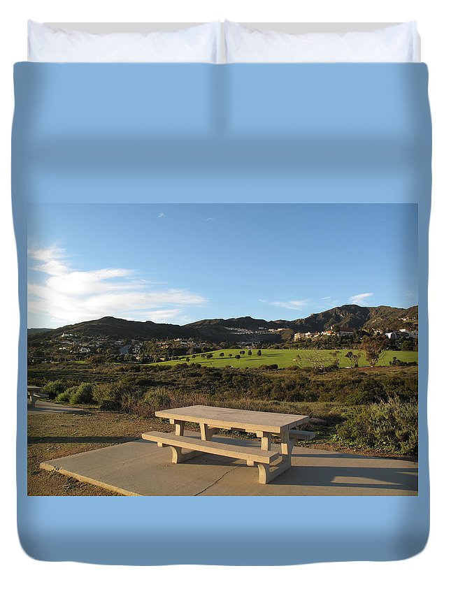 Tranquility Duvet Cover featuring the photograph Park Bench In Malibu by Marianna Sulic