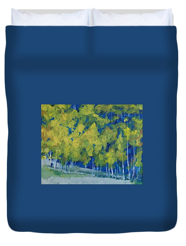 Forest Duvet Cover featuring the painting Park City Forest by Philip Fleischer