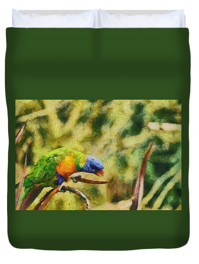 Parrot Paradise Duvet Cover featuring the painting Parrot Paradise by Harry Warrick