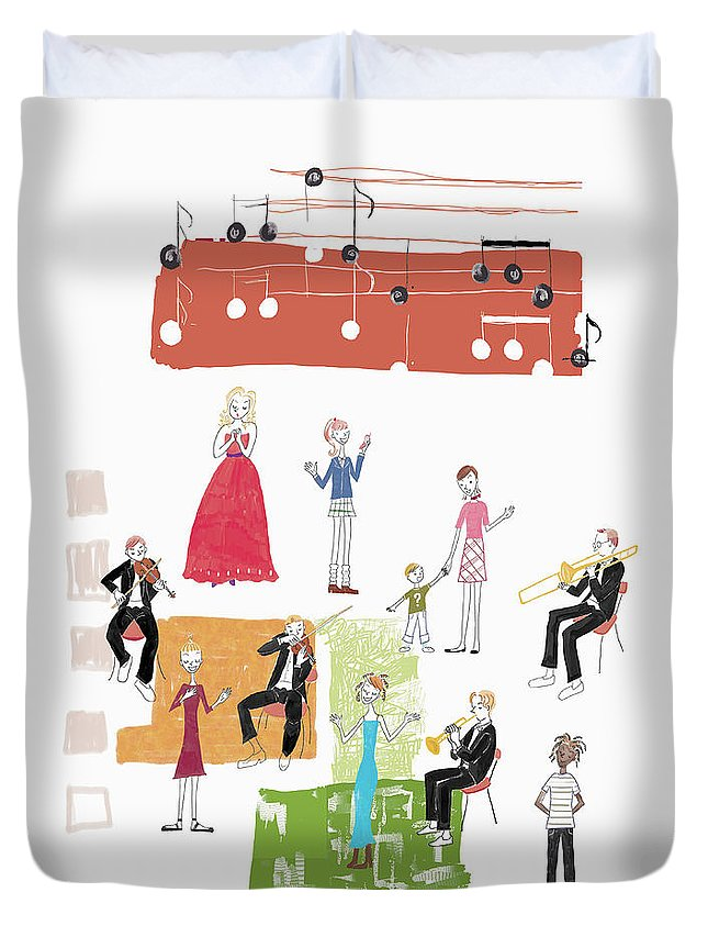 People Duvet Cover featuring the digital art Party Image by Daj