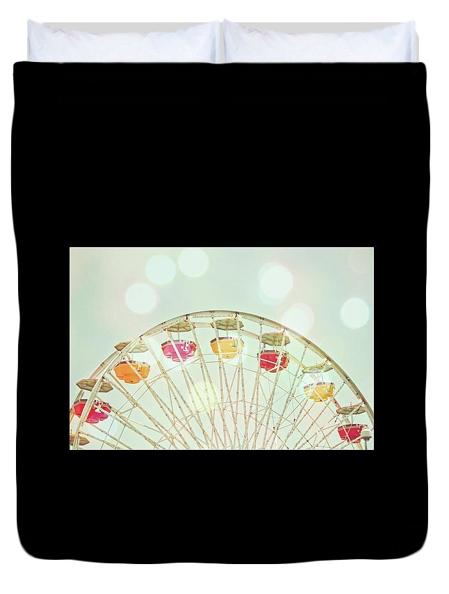 Hanging Duvet Cover featuring the photograph Pastel Ferris Wheel by Joyhey