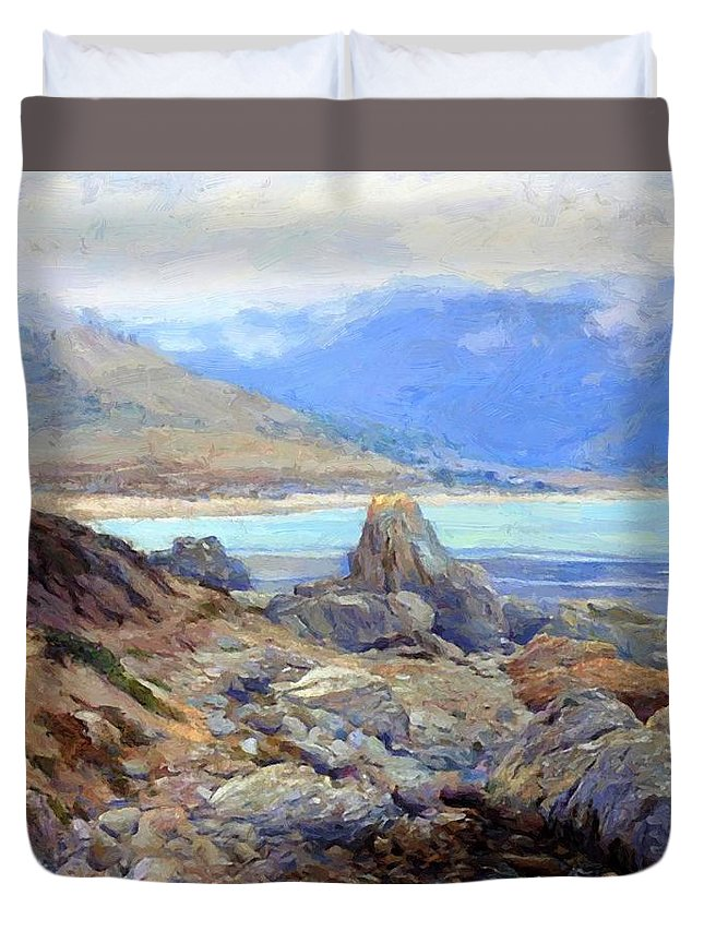 Path Duvet Cover featuring the painting Path Along The Shore by Guy Rose