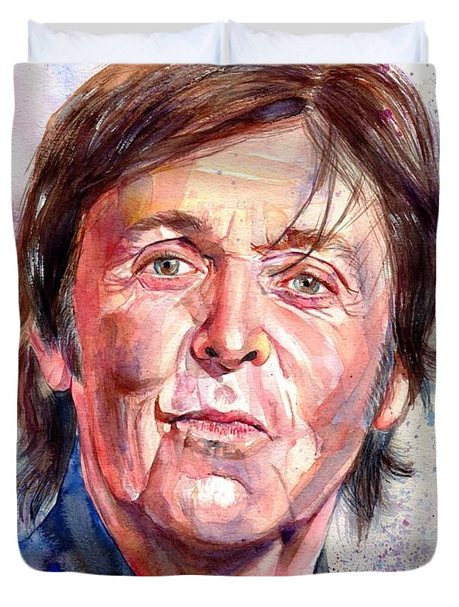 Paul Duvet Cover featuring the painting Paul McCartney Watercolor by Suzann Sines