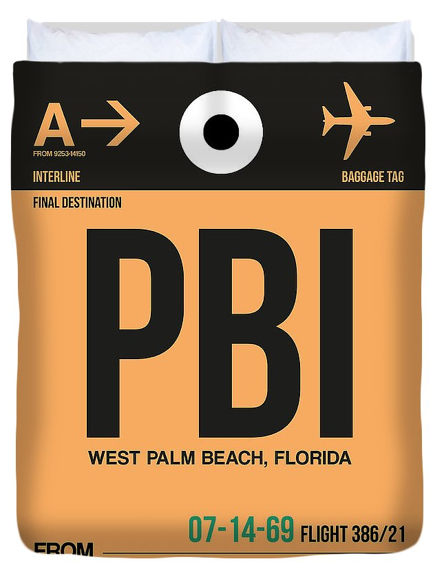 Vacation Duvet Cover featuring the digital art Pbi West Palm Beach Luggage Tag I by Naxart Studio