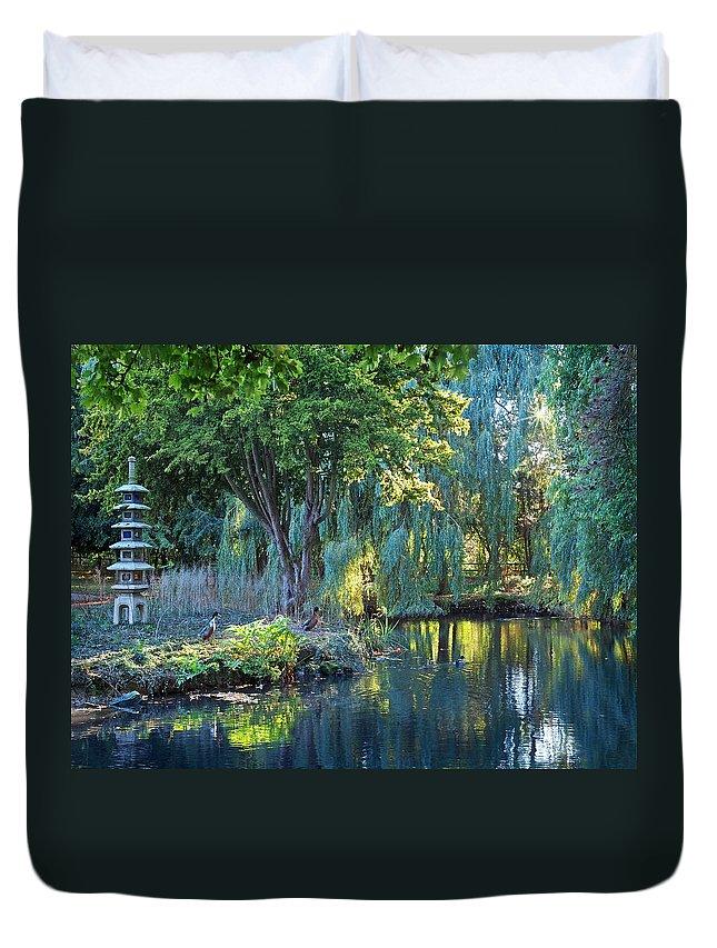 Japanese Garden Duvet Cover featuring the photograph Peaceful Oasis - Japanese Garden Lake by Gill Billington