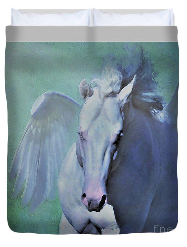 Pegasus Horse Equine Equestrian Western Art Fantasy Myth Mythical Mythology Wings Flight Fly Teal Green Blue White Duvet Cover featuring the digital art Pegasus Fantasy by Barbara Morrison