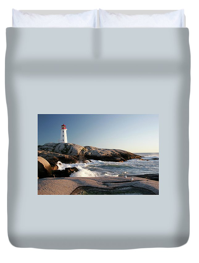 Water's Edge Duvet Cover featuring the photograph Peggys Cove Lighthouse & Waves by Cworthy