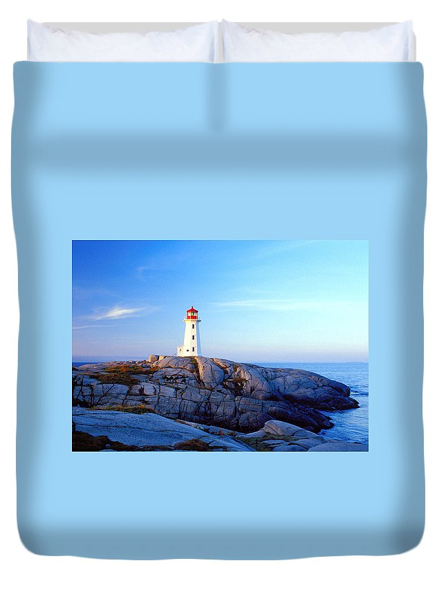 Water's Edge Duvet Cover featuring the photograph Peggys Cove Lighthouse At Sunrise by Photorx
