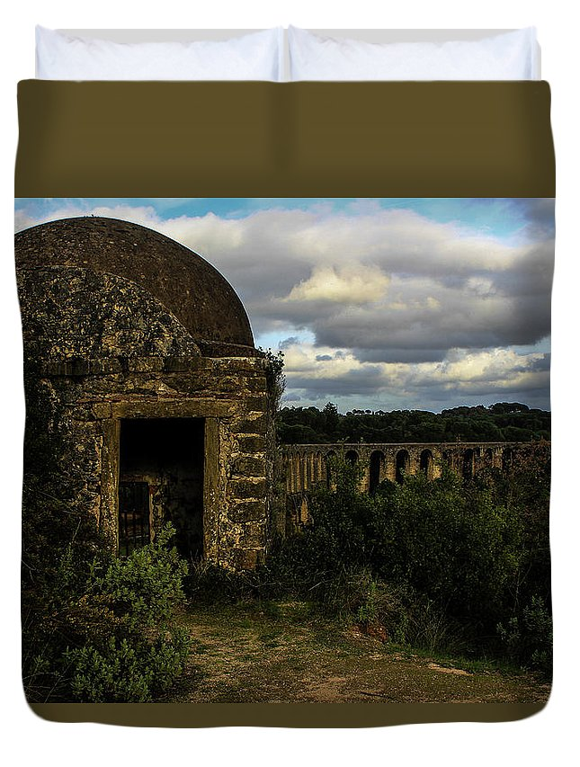 Monument Duvet Cover featuring the photograph Pegoes Aqueduct by Bruno Nunes