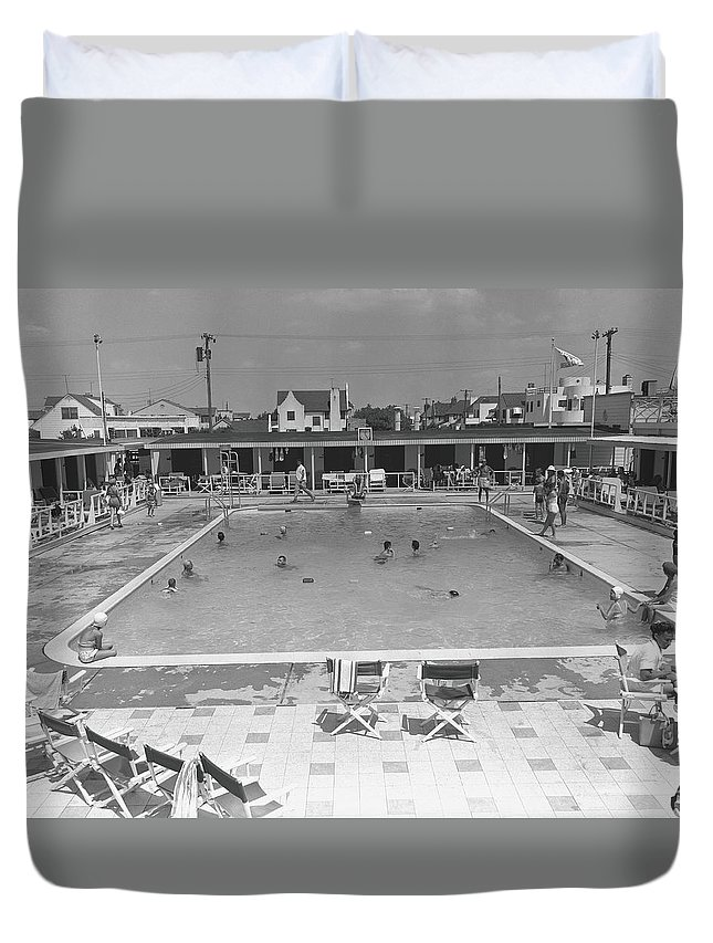 Rectangle Duvet Cover featuring the photograph People Swimming In Pool, B&w, Elevated by George Marks