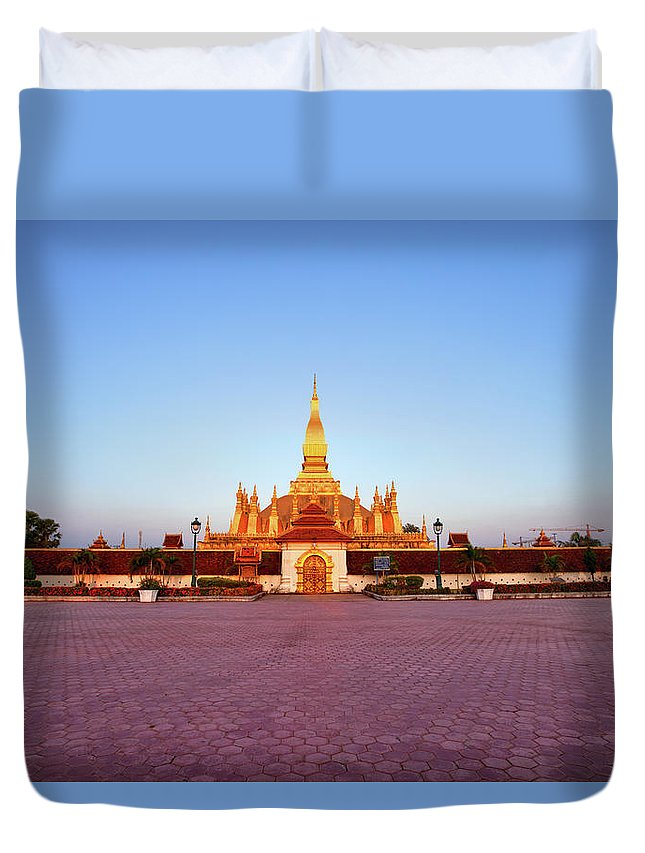 Monument Duvet Cover featuring the photograph Pha That Luang Stupa At Sunset by Fototrav