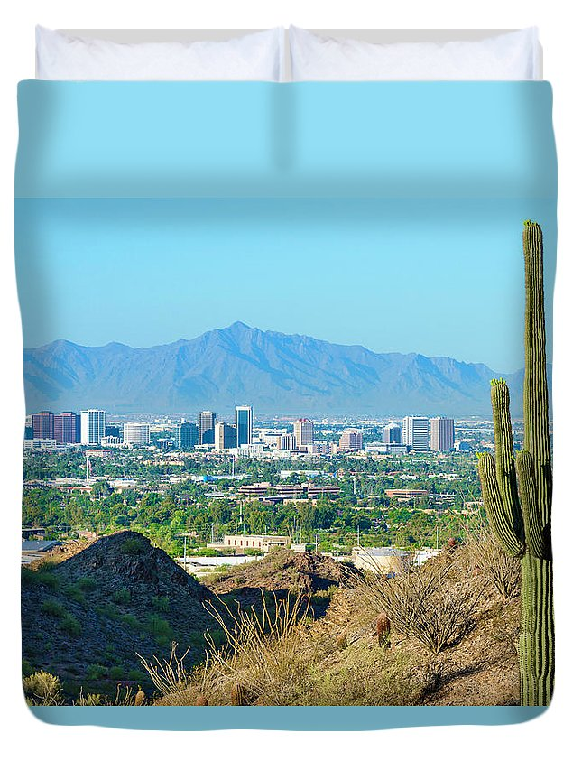 Saguaro Cactus Duvet Cover featuring the photograph Phoenix Skyline Framed By Saguaro by Dszc