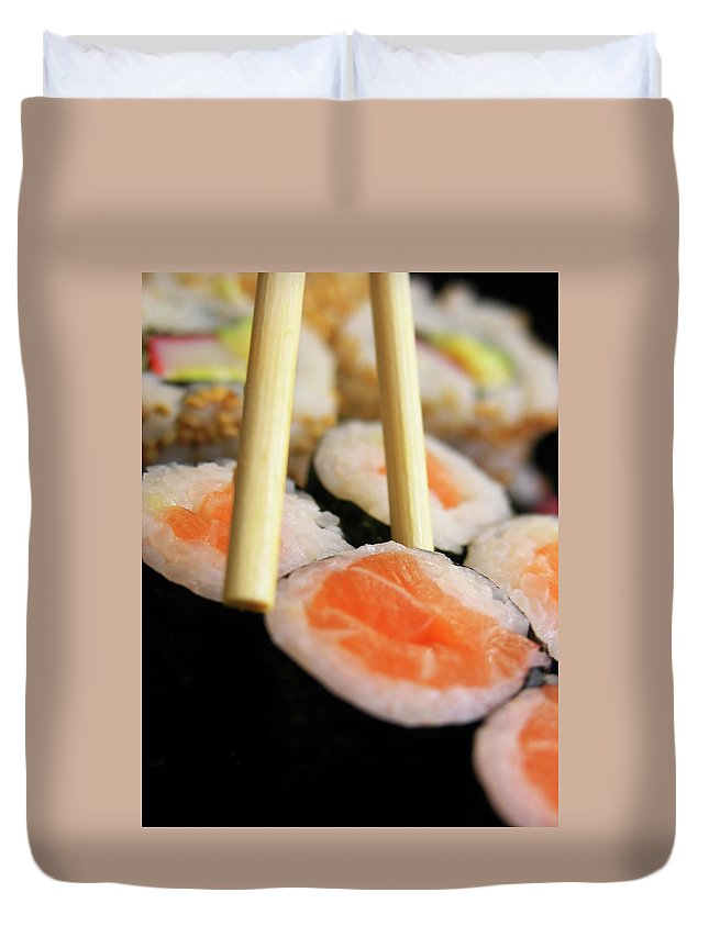 Japanese Food Duvet Cover featuring the photograph Picking Some Sushi by Caracterdesign
