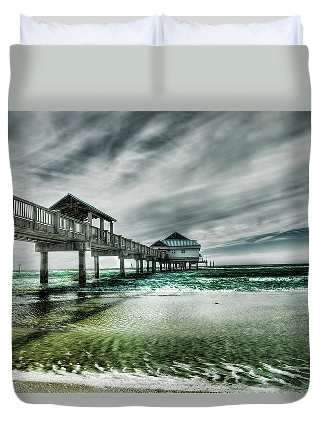 Water's Edge Duvet Cover featuring the photograph Pier by Chumbley Photography