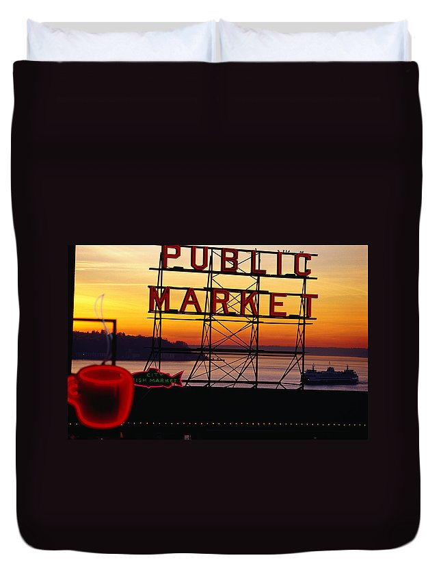 Ferry Duvet Cover featuring the photograph Pike Place Market Sign, Seattle by Lonely Planet