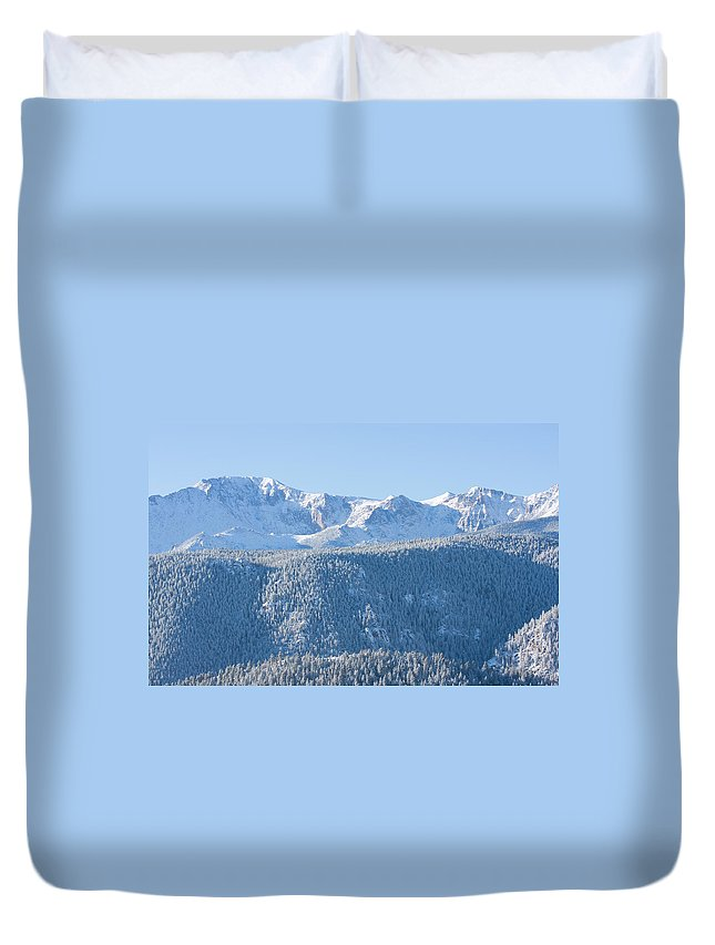 Extreme Terrain Duvet Cover featuring the photograph Pikes Peak In Fresh Snow by Swkrullimaging