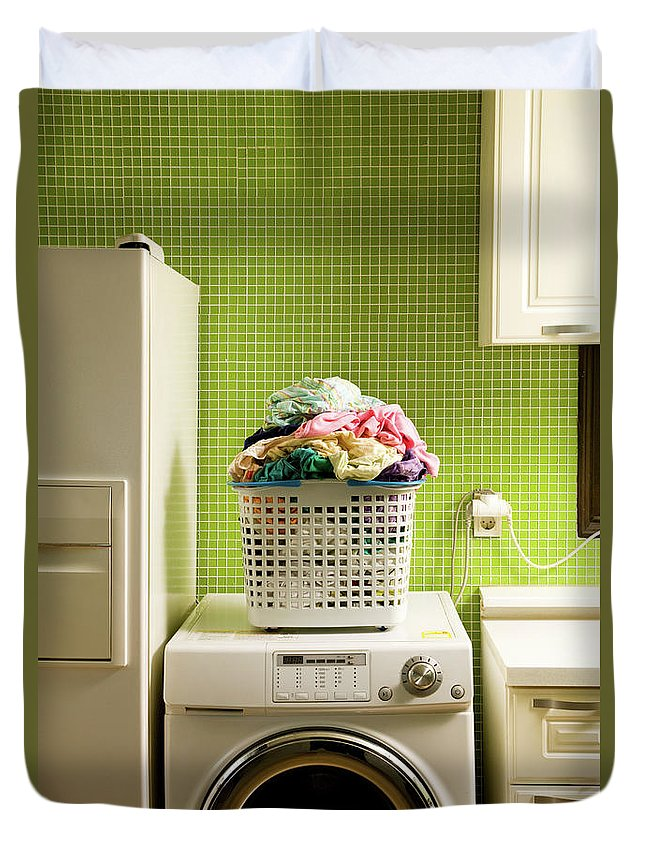 Washing Machine Duvet Cover featuring the photograph Pile Of Laundry On Washing Machine by Jae Rew