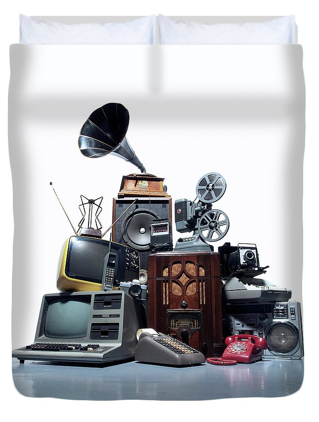 White Background Duvet Cover featuring the photograph Pile Of Old Technology by Pm Images