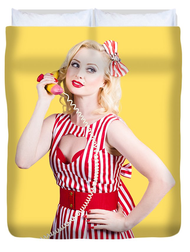 Pinup Duvet Cover featuring the photograph Pin Up Woman Ordering Organic Food On Banana Phone by Jorgo Photography - Wall Art Gallery