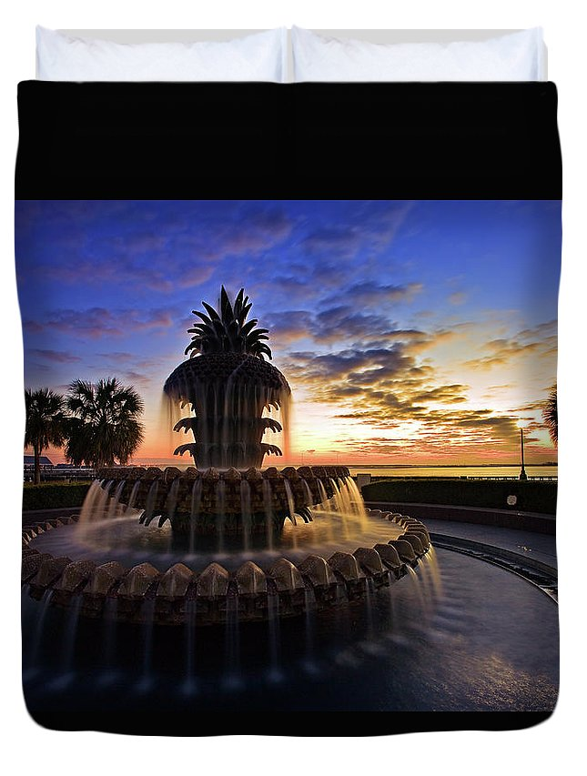 Tranquility Duvet Cover featuring the photograph Pineapple Fountain In Charleston by Sam Antonio Photography
