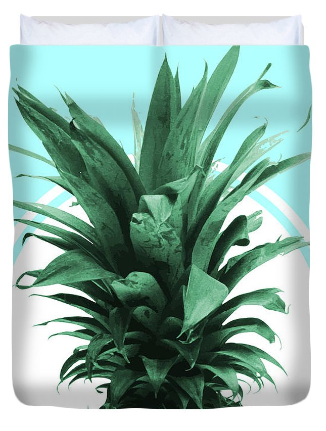 Tropical Duvet Cover featuring the mixed media Pineapple Print - Tropical Wall Art - Botanical Print - Pineapple Poster - Blue - Minimal, Modern by Studio Grafiikka