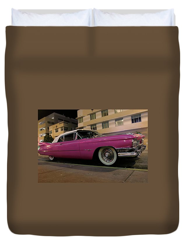 Art Deco Duvet Cover featuring the photograph Pink Cadillac by Ntzolov