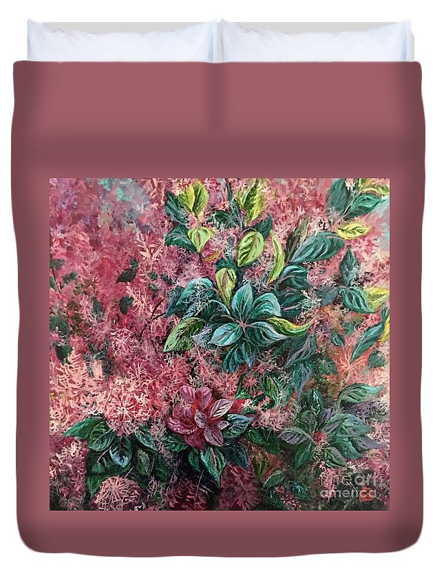 Plant Duvet Cover featuring the painting Pink Infusion by Linda Markwardt