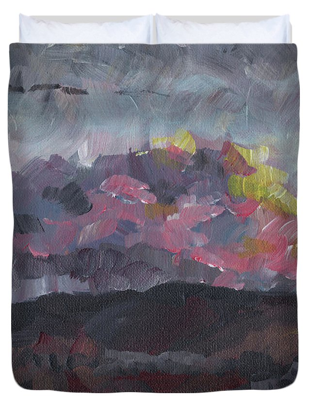 Impressionist Duvet Cover featuring the painting Pink Sky Delight by Susan Moore