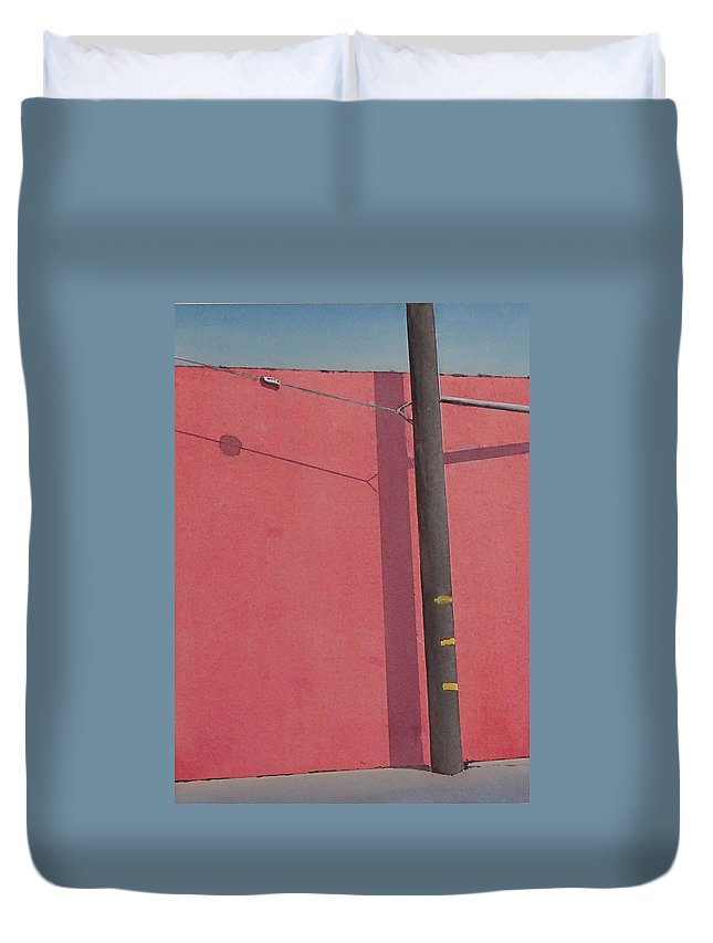 Duvet Cover featuring the painting Pink wall by Philip Fleischer