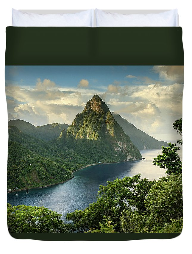 Nature Duvet Cover featuring the photograph Piton View - Saint Lucia by Paul Baggaley