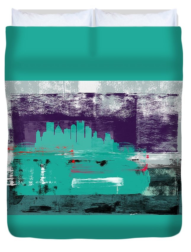 Pittsburgh Duvet Cover featuring the mixed media Pittsburgh Abstract Skyline II by Naxart Studio