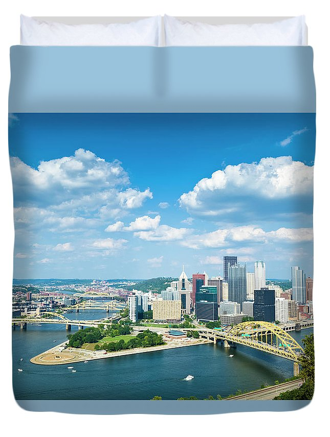 Arch Duvet Cover featuring the photograph Pittsburgh, Pennsylvania Skyline With by Drnadig