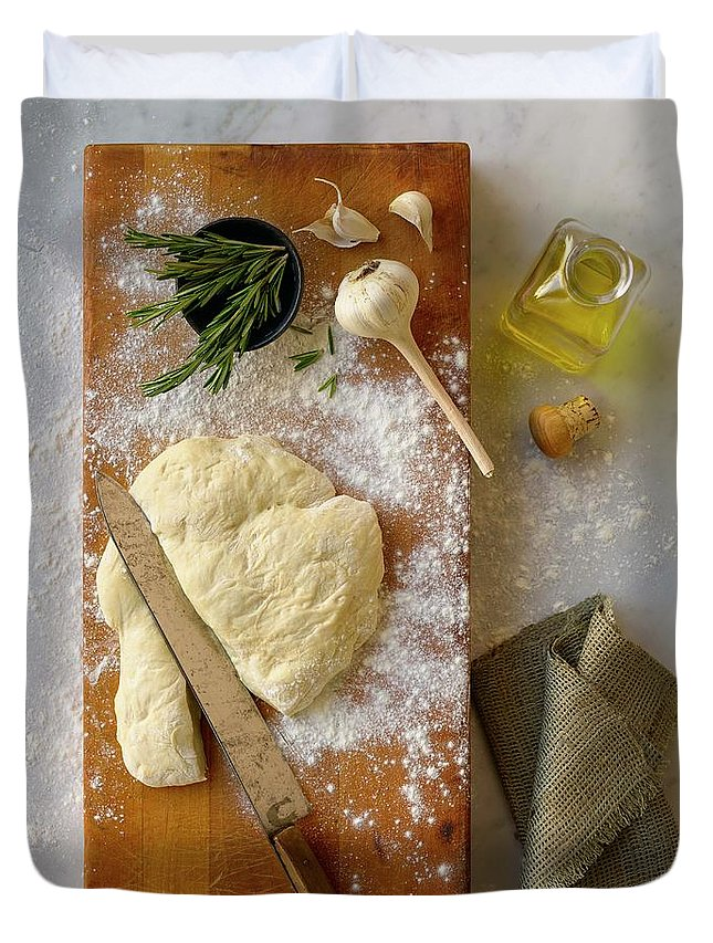 Cutting Board Duvet Cover featuring the photograph Pizza Dough And Ingredients On Cutting by Brian Macdonald