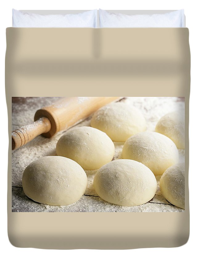 Rolling Pin Duvet Cover featuring the photograph Pizza Doughs by Foodad / Multi-bits
