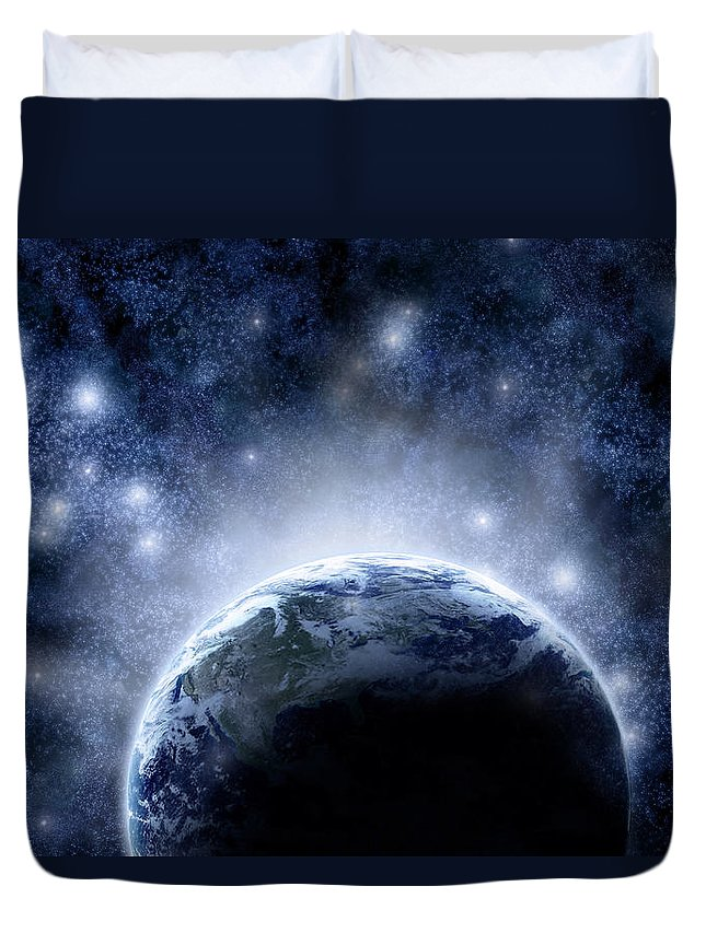 Outdoors Duvet Cover featuring the digital art Planet Earth And Stars by Nicholas Monu