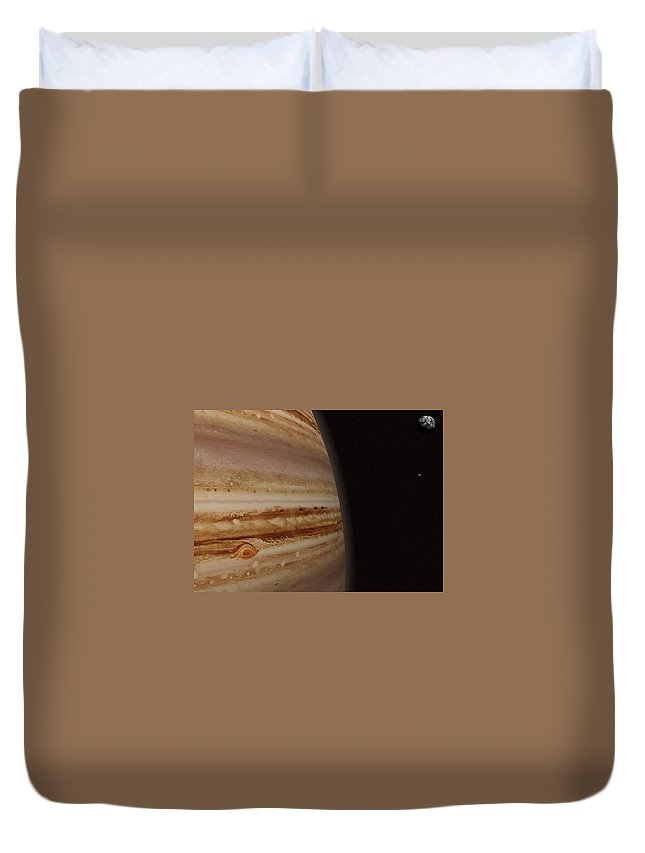Black Color Duvet Cover featuring the photograph Planet Jupiter And A Distant Moon by Jason Reed