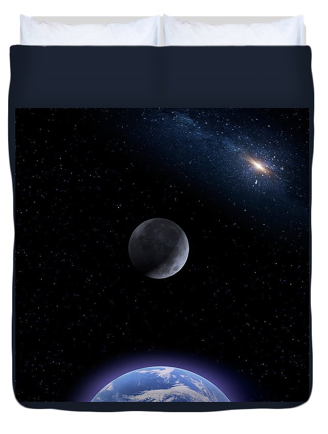 Moon Duvet Cover featuring the photograph Planetoid by Mark Andrew Thomas