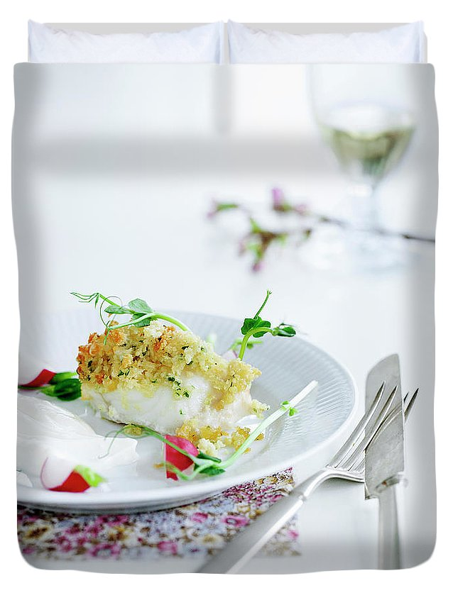 White Background Duvet Cover featuring the photograph Plate Of Crusted Fish by Line Klein