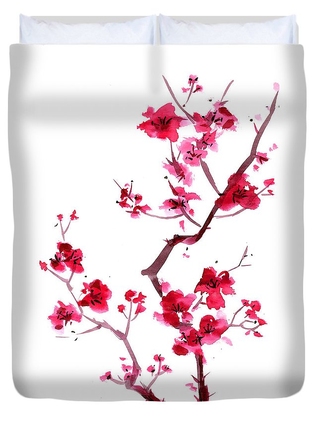 Watercolor Painting Duvet Cover featuring the digital art Plum Blossom Painting by Kaligraf