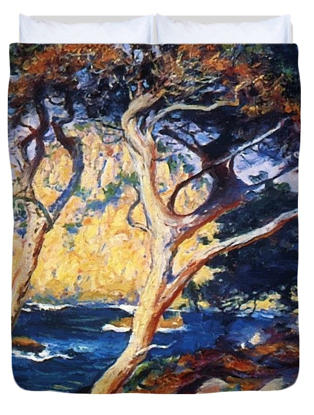 Point Duvet Cover featuring the painting Point Lobos Trees 1919 by Guy Rose