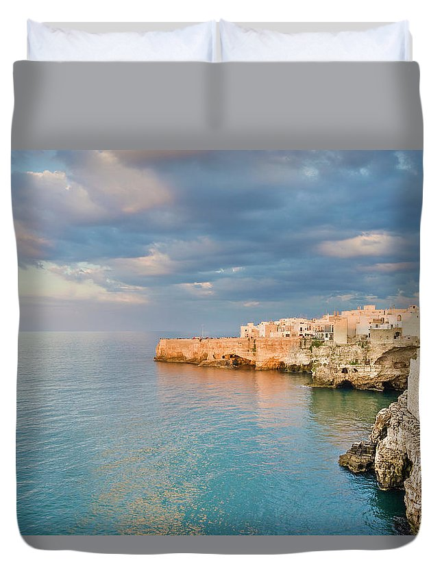 Adriatic Sea Duvet Cover featuring the photograph Polignano A Mare On The Adriatic Sea by David Madison