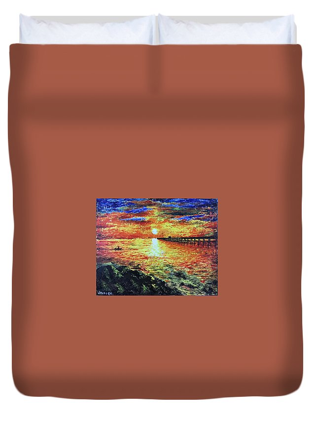 Acrylic Painting Duvet Cover featuring the painting Pondicherry Beach Sunrise by Varun Rao