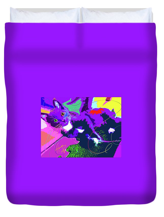 Dizzycats Duvet Cover featuring the painting Pop Cat Kitten With String by DC Langer