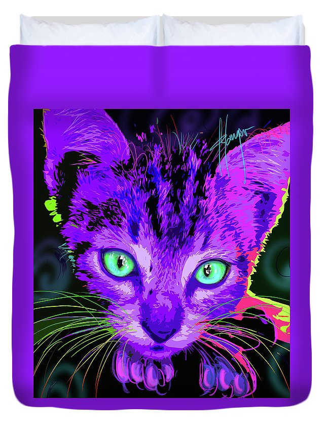 Royce Duvet Cover featuring the painting pOpCat Baby Royce by DC Langer